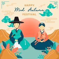 Mid autumn festival with couple wear korean hanbok. Chuseok Festival. Korean Thanksgiving Day, Chinese cloud, flower arrangement. Chinese Moon Cakes. Vector - Illustration