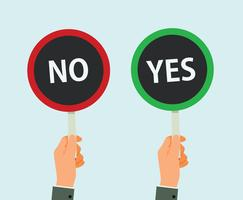 Hands Hold Signboard Yes And No Vector Illustration
