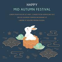 Festival de mediados de otoño con conejo y elementos abstractos. Festival de Chuseok / Hangawi. Día de acción de gracias, Nube china, Lotus, Cherry Bloom, Vector de pasteles de luna - Ilustración
