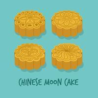 Conjunto de los pasteles de luna chinos para el Festival del Medio Otoño. Feliz mediados de otoño. Festival de Chuseok. Vector - ilustración.