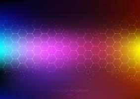 Abstract science and technology concept from hexagons pattern with node on vibrant color background. Structure molecule and communication. Science and medical. vector