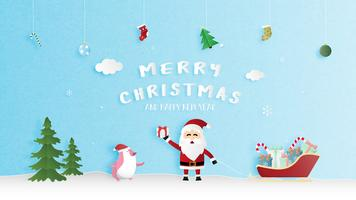 Merry Christmas and Happy new year greeting card in paper cut style. Vector illustration Christmas celebration background. Banner, flyer, poster, wallpaper, template.