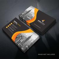 Orange shape visit card Free Vector