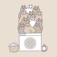 Cartoon cute cats on washing machine vector.