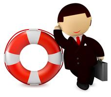 Businessman and life buoy - safety and rescue concept