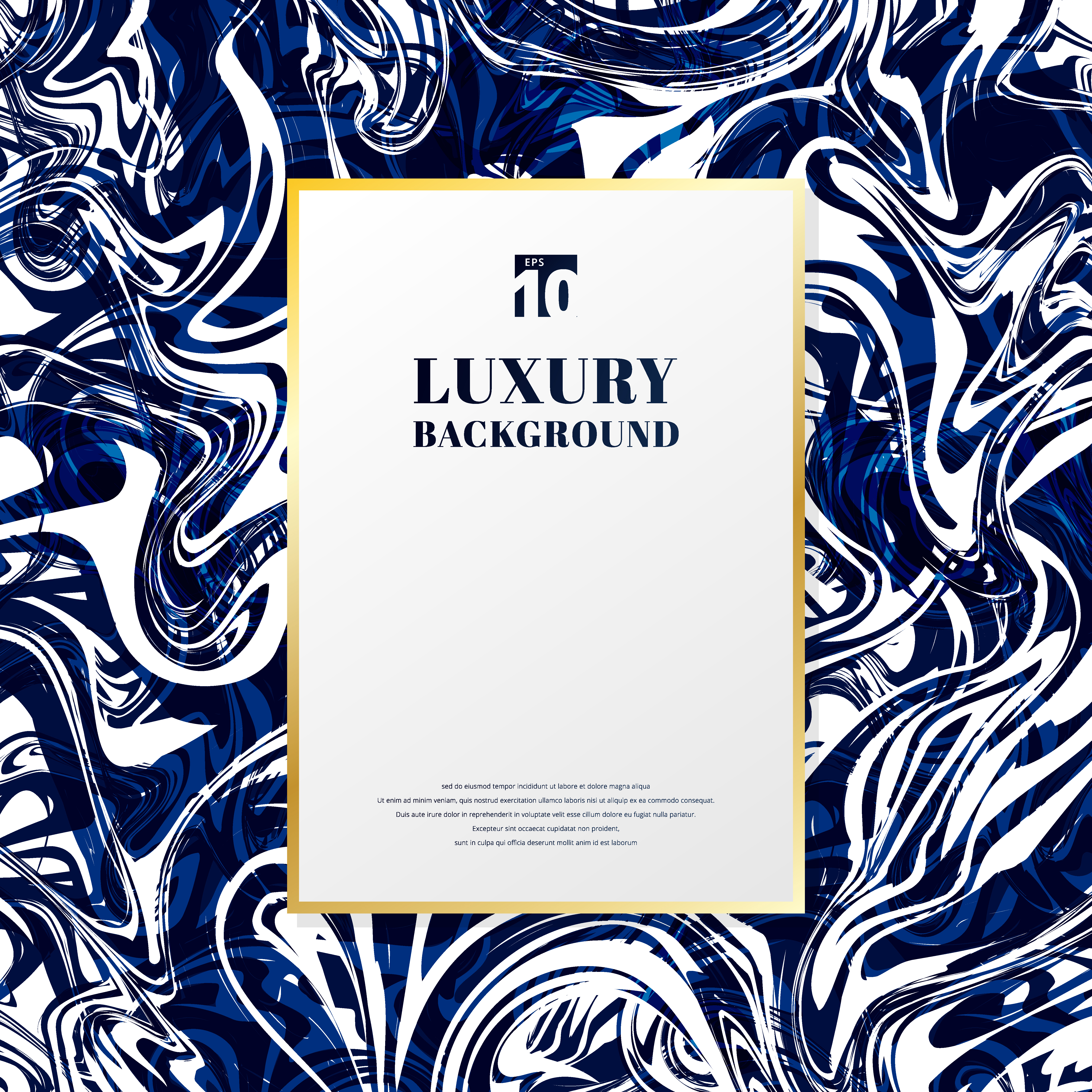 Template Gold Rectangle Frame With Space For Text On Blue And White Marble Background And Texture Luxury Style Download Free Vectors Clipart Graphics Vector Art