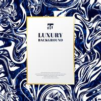 Template gold rectangle frame with space for text on blue and white marble background and texture. Luxury style.