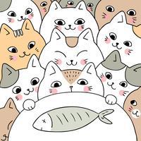 Vettore sveglio dei gatti e dei pesci di scarabocchio del fumetto.