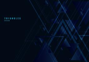 Abstract blue triangles shape and lines on black background for business technology style. Geometric design element for elegant with copy space.