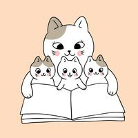 Cartoon cute mom and baby cat reading book vector.