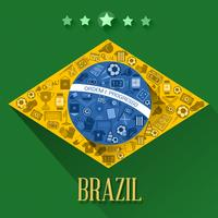 Brasilien fotboll flaggor symbol
