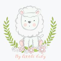 cute baby sheep with flower cartoon hand drawn style.vector illustration