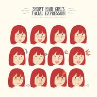 Cute Kawaii Red Short Hair with Various Facial Expression Set
