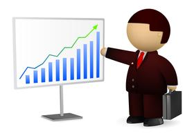 Uomo d'affari che mostra diagramma di successo