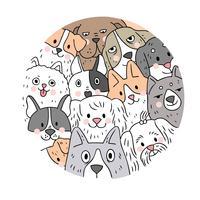 Vecteur de dessin animé visage mignon chiens. Doodle cadre de cercle.