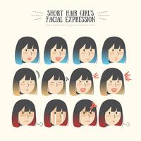 Cute Kawaii Ombre Short Hair Girl with Various Facial Expression Emoticon Set