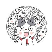 Cartoon cute cat and fish vector. Doodle circle frame.