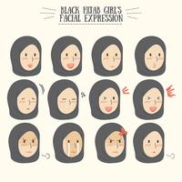 Cute Kawaii Black Hijab Girl with Various Facial Expression Set
