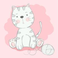 cute baby cat with cartoon hand drawn style.vector illustration