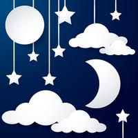 moon and cloud paper vector