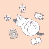 Cartoon cute cat sleeping vector.