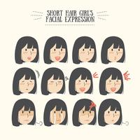 Cute Kawaii Black Hair Girl Facial Expression Set