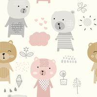 cute baby bear cartoon - seamless pattern