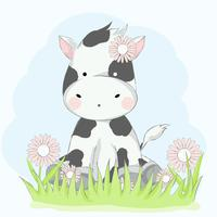 cute baby cow with flower cartoon hand drawn style.vector illustration