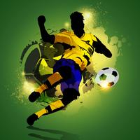 Colorful soccer player shooting