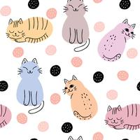 Abstract sweet cat seamless pattern vector.