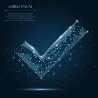 Abstract lijn en punt blauw vinkje op donkerblauwe nachthemel met sterren. Veelhoekige laag poly achtergrond met verbindende stippen en lijnen. Vector illustratie verbindingsstructuur.