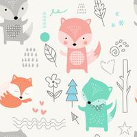 cute baby fox cartoon - seamless pattern vector