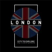 Ilustração do vetor no tema de LONDRES. Tipografia, gráficos de t-shirt