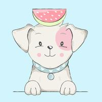 cute baby dog with watermelon cartoon   vector