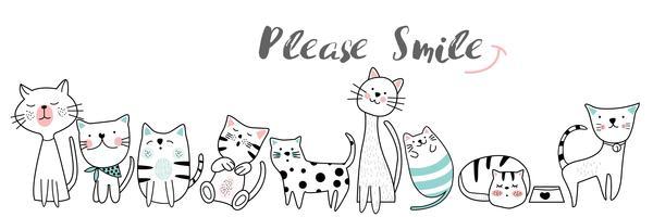 gullig baby katttecknad handgjord stil.vector illustration