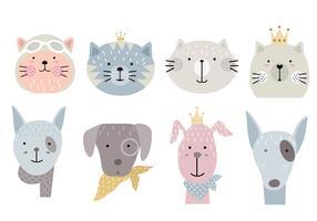 conjunto de iconos de animales de dibujos animados vector