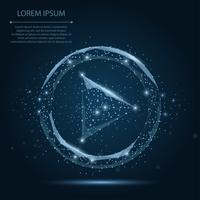 Abstract line and point blue play video icon on dark blue night sky with stars. Polygonal low poly background with connecting dots and lines. Vector illustration connection structure.