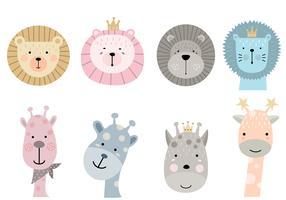 cartoon animal icons set vector