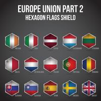 Europe Union Hexagon Flags Shield Part 2 vector