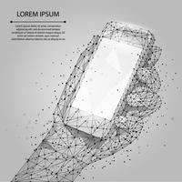 Abstract line and point grey Mobile phone with empty screen, holding by man hand. Communication app smartphone concept. Polygonal low poly background with connecting dots and lines. Vector illustration.