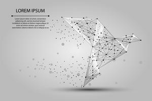 Imagem abstrata de um pássaro de papel origami consistindo de pontos, linhas e formas. Ilustração em vetor negócios. Espaço poli, estrelas e universo