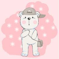 schattige baby beer met roze achtergrond, cartoon stijl