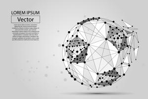 Abstract line and point soccer ball. Wireframe football concept. Low poly vector illustration