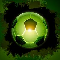 green grass soccer ball black