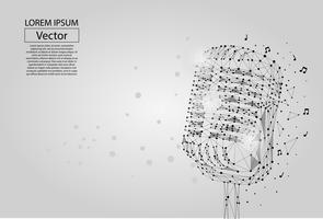 Abstract mash line and point image of a microphone. Vintage microphone vector wireframe concept