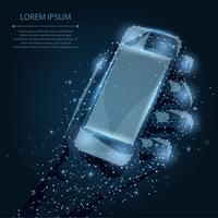 Abstract line and point Mobile phone with empty screen, holding by man hand. Communication app smartphone concept on dark blue night sky with stars. Polygonal low poly background with connecting dots and lines. Vector illustration.