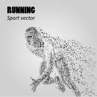 Silhouette of a running man from particles. Runner silhouette. Vector illustration. Athletes image composed of particles.