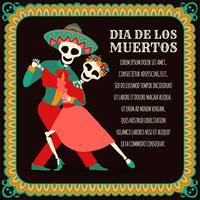 Tanzender Schädel / Skelett. Tag der Toten, Dia de Los Muertos, Banner mit bunten mexikanischen Blumen. Fiesta, Feiertagsplakat, Partyflieger, lustige Grußkarte - Vector Illustration