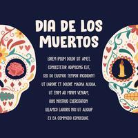 Zuckerschädel-Plakat. Tag der Toten, Dia de Los Muertos, Banner mit bunten mexikanischen Blumen. Fiesta, Feiertagsplakat, Partyflieger, lustige Grußkarte - Vector Illustration