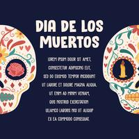 Sugar Skull Poster. Day of the dead, Dia de Los Muertos, banner with colorful Mexican flowers. Fiesta, holiday poster, party flyer, funny greeting card - Vector Illustration
